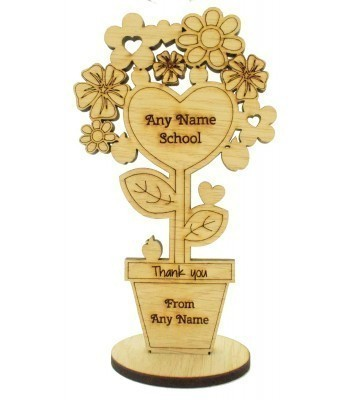 Laser Cut Personalised Oak Veneer School Name - 'Thank you' Teachers Detailed Flower Pot on a Stand