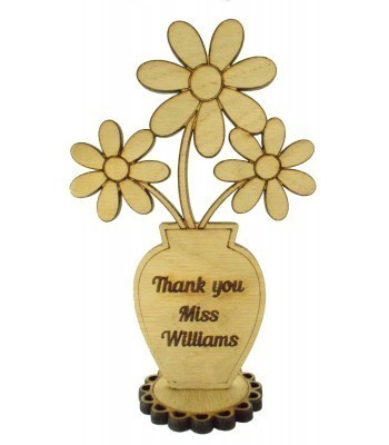 Laser Cut Personalised Oak Veneer 'Thank you' Teachers Flower Pot on a Stand