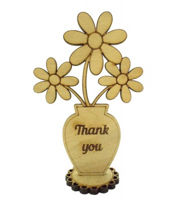 Laser Cut Oak Veneer 'Thank you' Teachers Flower Pot on a Stand