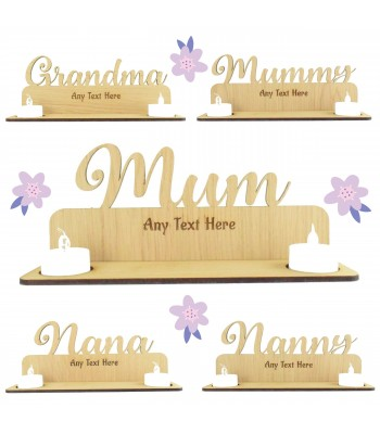 Laser Cut Oak Veneer Personalised Engraved Plaque on a Tealight Holder Stand - Options