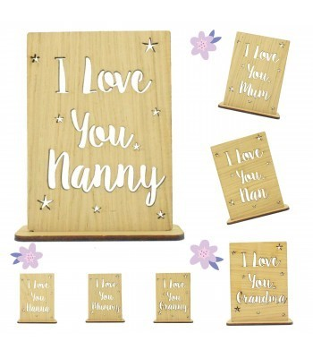 Laser Cut Oak Veneer Mothers Day Stencil Plaque on a Tealight Holder Stand - Options