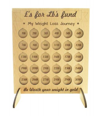 Laser Cut Oak Veneer '£'s for Lb's' 'My Weight Loss Journey' Chart Countdown £1 Coin Holder