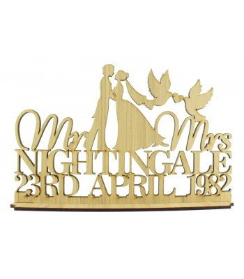 Laser Cut Oak Veneer Personalised 'Mr & Mrs' Wedding Sign on a stand - Bride & Groom