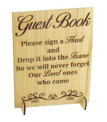 Laser Cut Oak Veneer Guest Book Sign on Stands