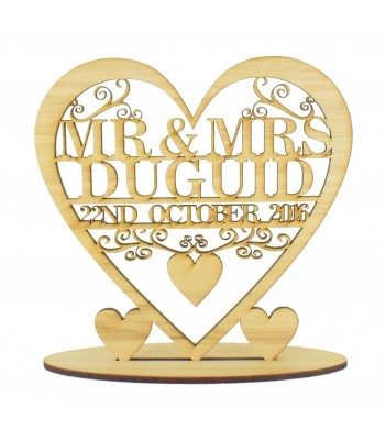 Laser Cut Oak Veneer Personalised 'Mr & Mrs' Wedding Heart on a stand