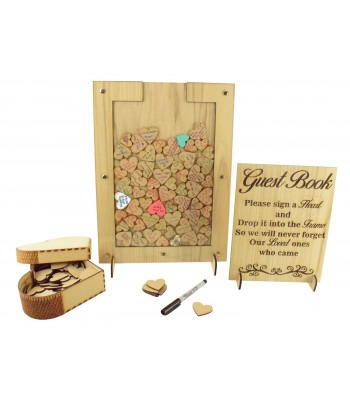 Laser Cut Oak Veneer Rectangle Wedding Drop Box - Heart Tokens