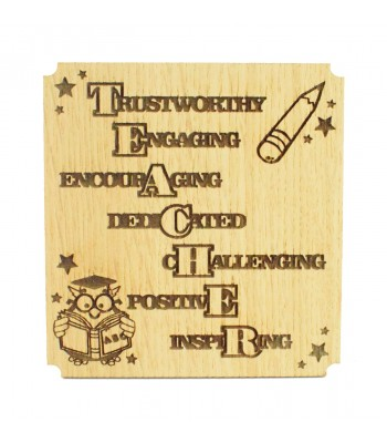 Laser cut Oak Veneer Teachers Drink Coaster