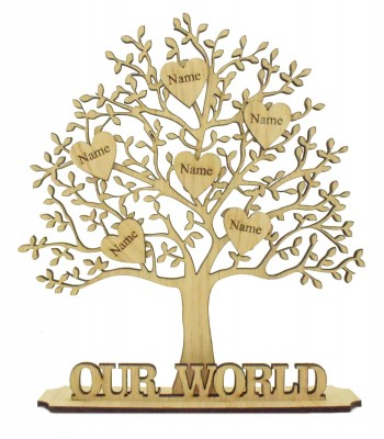 Laser Cut Oak Veneer Family Tree on a stand with Personalised Engraved Hearts - Options