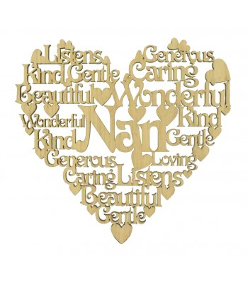Laser Cut Oak Veneer Personalised Female Family Name Word Collage Box Frame Heart - Options