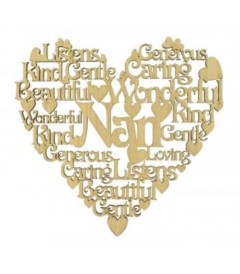 Laser Cut Oak Veneer Personalised Female Family Name Word Collage Box Frame Heart - Options