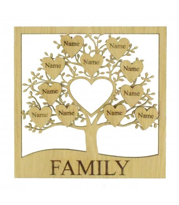 Laser Cut Oak Veneer Family Tree in a Frame with Personalised Engraved Hearts - Options
