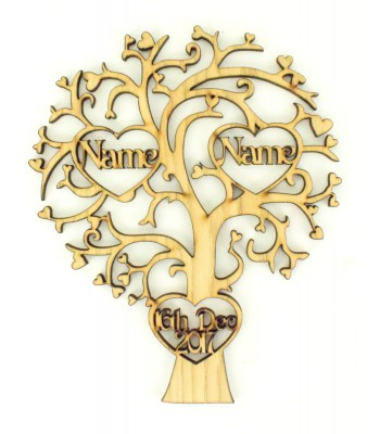Laser Cut Oak Veneer Personalised Tree with 2 Heart Frames with Names inside & 1 Heart Frame with a Date - 200mm Size