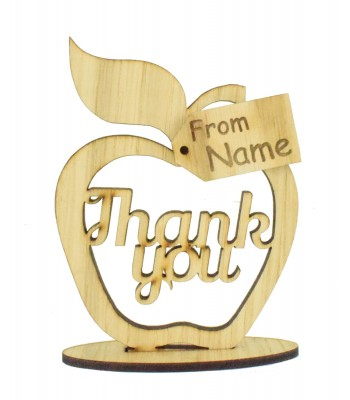 Laser Cut Oak Veneer 'Thank you' Apple on a Stand