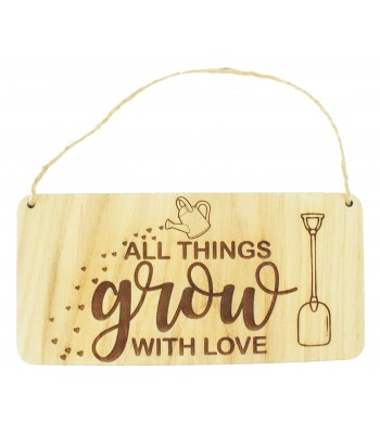 Laser Cut Oak Veneer 'All things grow with love' Engraved Plaque with Twine