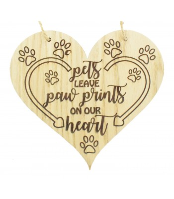 Laser Cut Oak Veneer 'Pets leave paw prints on your heart' Engraved Heart Plaque with Twine