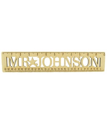 Laser cut Personalised Oak Veneer Ruler - Name in the Framed Center