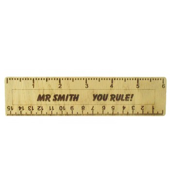 Laser cut Personalised Oak Veneer 'You Rule' Small Ruler - Bold Font