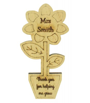 Laser Cut Personalised Oak Veneer 'Thank you for helping me grow' Teachers Flower Pot Shape