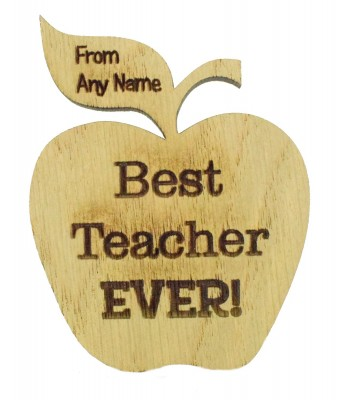 Laser Cut Personalised Oak Veneer 'Best Teacher Ever!' Teachers Apple Shape