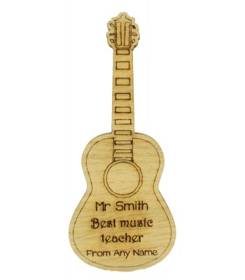 Laser Cut Personalised Oak Veneer 'Best Music Teacher' Teachers Guitar Shape