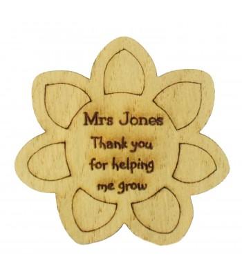 Laser Cut Personalised Oak Veneer 'Thank you for helping me grow' Teachers Flower Shape