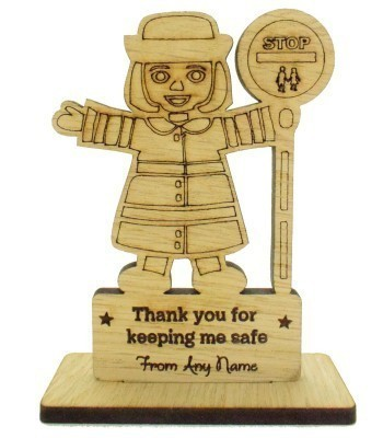 Laser Cut Personalised Oak Veneer 'Thank you for keeping me safe' Engraved Lolly-pop Lady on a Stand