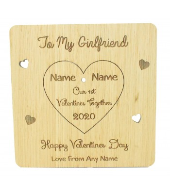 Laser Cut Oak Veneer Personalised 'Our First Valentines Day Together' Valentines Card with Pop Out Heart