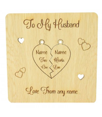 Laser Cut Oak Veneer Personalised 'Two Hearts One Love' Valentines Card with Pop Out Keyring