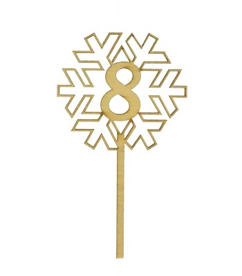 Laser Cut Wedding Table Number Spike - Snowflake Design