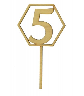 Laser Cut Wedding Table Number Spike - Hexagon Design