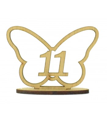 Laser Cut Wedding Table Number on a Stand - Butterfly Design