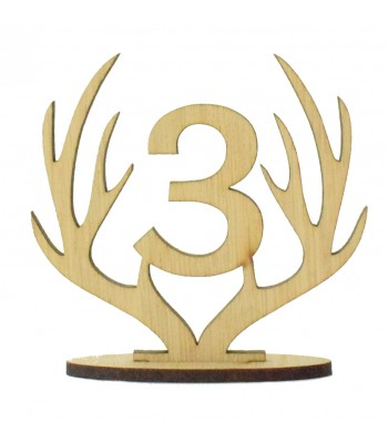 Laser Cut Wedding Table Number on a Stand - Antlers Design