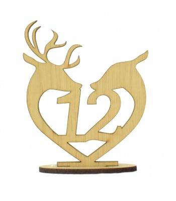 Laser Cut Wedding Table Number on a Stand - Deer & Stag Heart Design