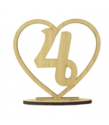 Laser Cut Wedding Table Number on a Stand - Heart Design