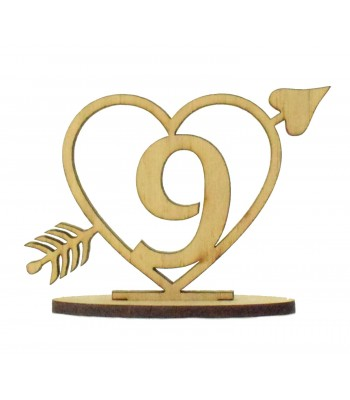 Laser Cut Wedding Table Number on a Stand - Heart with Arrow Design