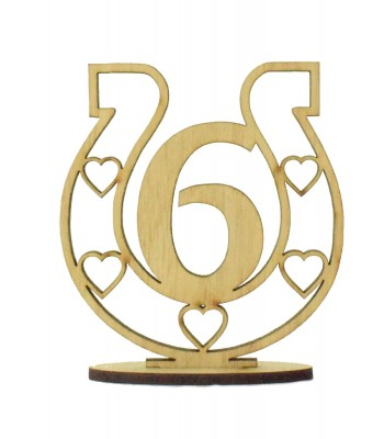 Laser Cut Wedding Table Number on a Stand - Horseshoe Design