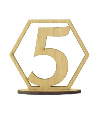 Laser Cut Wedding Table Number on a Stand - Hexagon Design