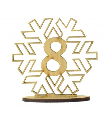 Laser Cut Wedding Table Number on a Stand - Snowflake Design