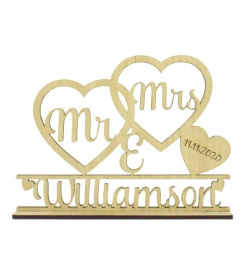 Laser Cut Oak Veneer Personalised 'Mr & Mrs' Wedding Sign on a stand - Double Heart Frame Design