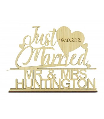 Laser Cut Oak Veneer Personalised 'Just Married' Wedding Sign on a stand - Heart Design