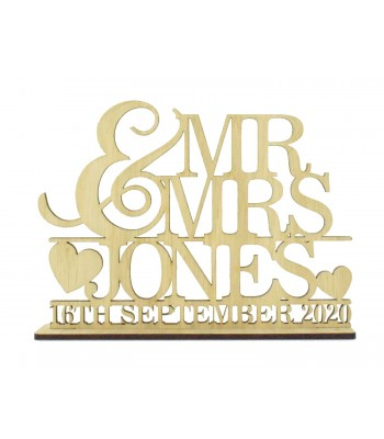 Laser Cut Oak Veneer Personalised 'Mr & Mrs' Wedding Sign on a stand - Large Ampersand Design
