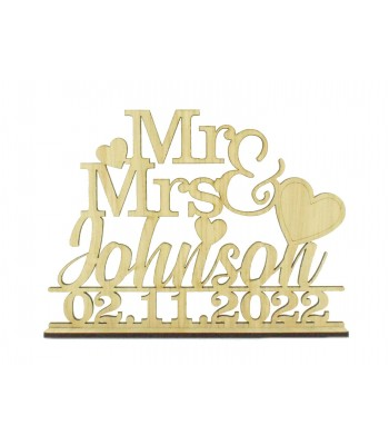 Laser Cut Oak Veneer Personalised 'Mr & Mrs' Wedding Sign on a stand - Mixed Fonts and Heart Design