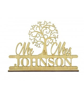 Laser Cut Oak Veneer Personalised 'Mr & Mrs' Wedding Sign on a stand - Tree Design