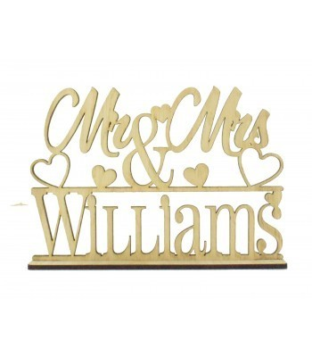 Laser Cut Oak Veneer Personalised 'Mr & Mrs' Wedding Sign on a stand - Mixed Hearts Design