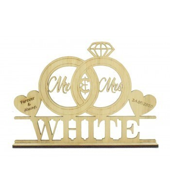 Laser Cut Oak Veneer Personalised 'Mr & Mrs' Wedding Sign on a stand - Wedding Rings & Hearts Design