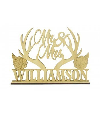 Laser Cut Oak Veneer Personalised 'Mr & Mrs' Wedding Sign on a stand - Antlers & Roses Design