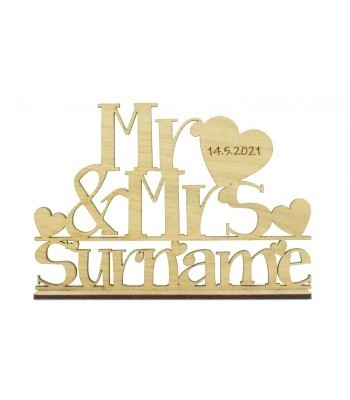 Laser Cut Oak Veneer Personalised 'Mr & Mrs' Wedding Sign on a stand - Large Mr & Mrs with Engraved Date on Heart Design