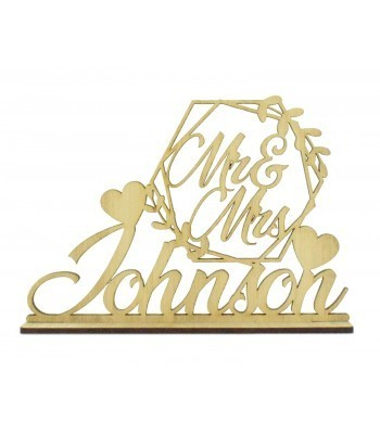 Laser Cut Oak Veneer Personalised 'Mr & Mrs' Wedding Sign on a stand - Hexagon Leaf Frame Design