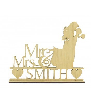Laser Cut Oak Veneer Personalised 'Mr & Mrs' Wedding Sign on a stand - Bride & Groom Design