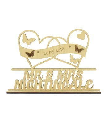Laser Cut Oak Veneer Personalised 'Mr & Mrs' Wedding Sign on a stand - Double Heart Frames with Butterflies Design